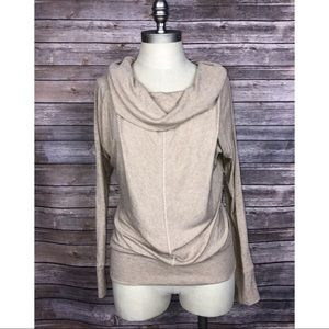 Anthropologie Bordeaux Sweater Tan Cowl Neck Small